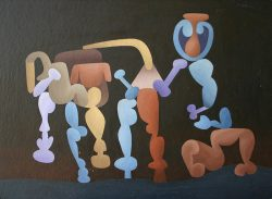 allan milner oil on board abstract