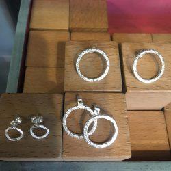 Shimmering silver circle earrings