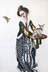 Leslie Glenn Damhus Salome with Cat and Bird