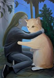minyoung choi girl with cat