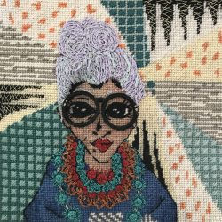 carolyn partleton stitched portrait iris