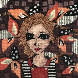 carolyn partleton stitched self portrait